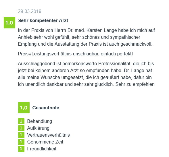 Bewertung - Brustvergrößerung in Berlin