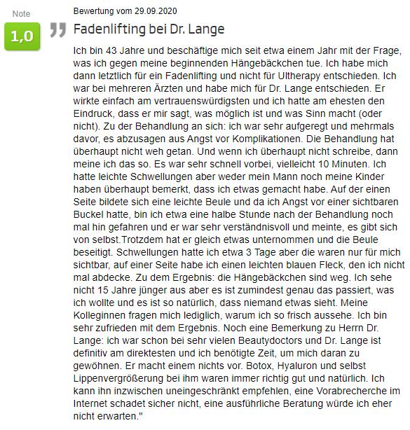 Bewertung - Fadenlifting in Berlin