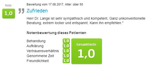 Bewertung - Faltenbehandlung in Berlin