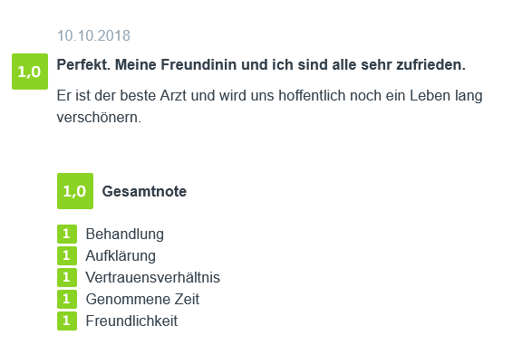 Bewertung - Fettabsaugen in Berlin