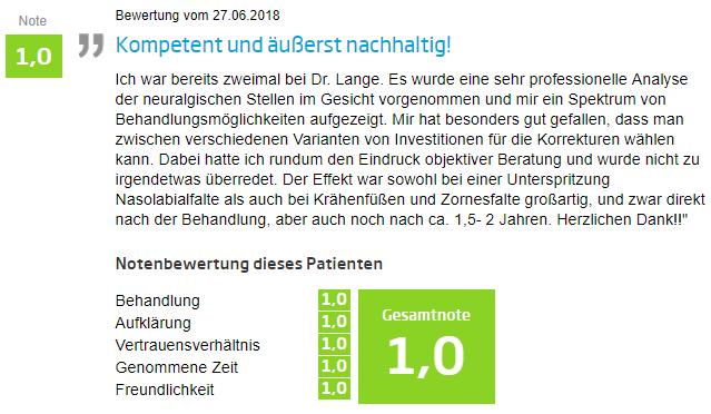Bewertung - Vampirlifting in Berlin
