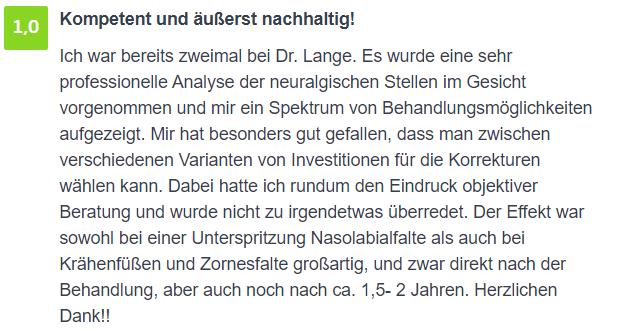 Bewertung - Zornesfalten Behandlung Berlin